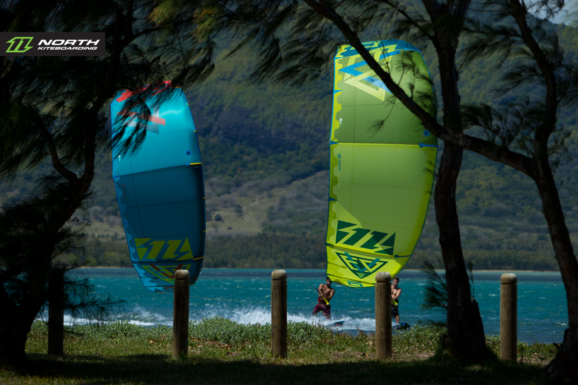 North Evo 2015 duo cruising between the trees - kitesurfing
