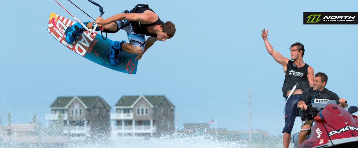 Aaron Hadlow on the 2015 North Team Series board saying hello to Jetski - North Kiteboarding