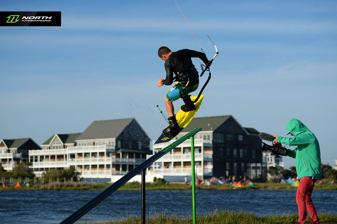 Craig Cunningham on the slider at Cape Hatteras - North kiteboarding
