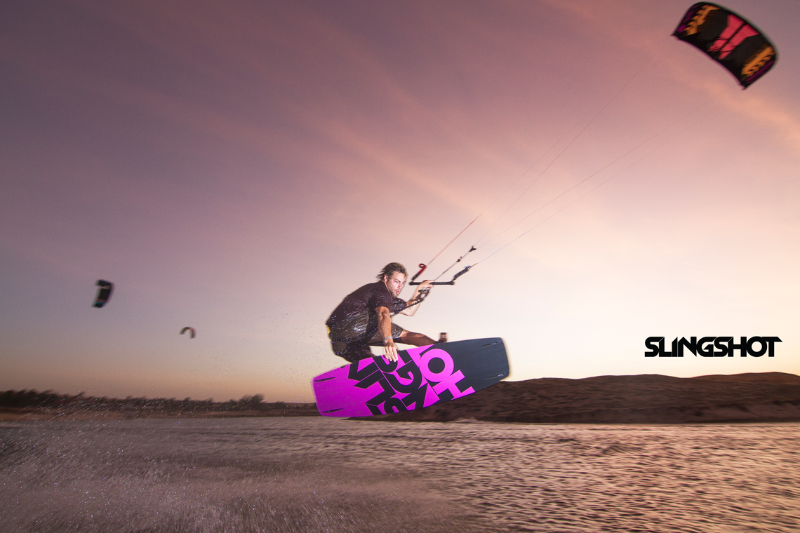 Grabbing some rail on the 2015 Slingshot Asylum board and flying the RPM kite.