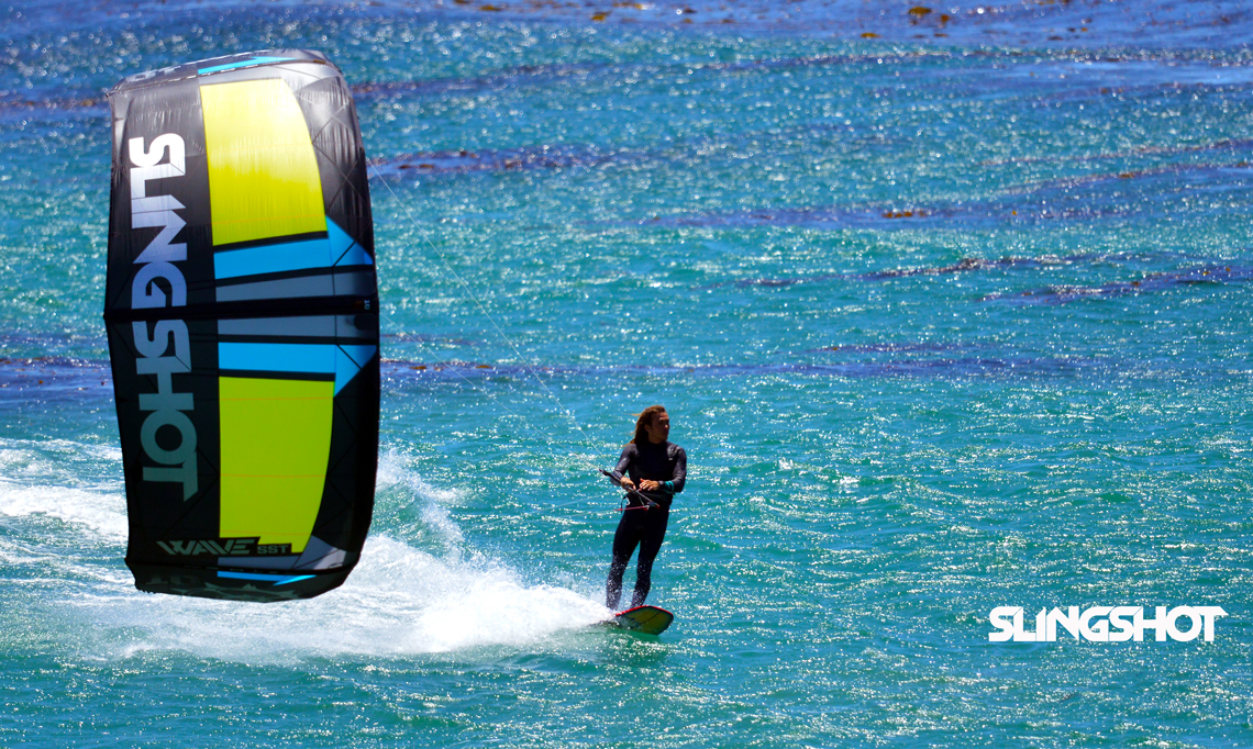 Kitesurfer Patrick Rebstock cruising on the 2016 Slingshot SST Wave kite.