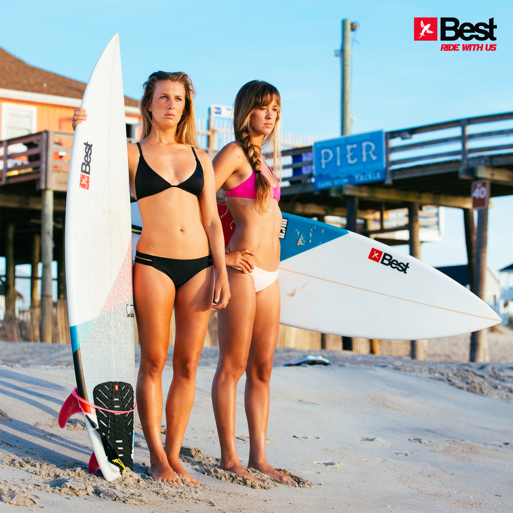 kitesurf wallpaper image - Two Best Kiteboarding kitechicks in bikini with surfboards looking to take a ride - in resolution: iPad 2 & 3 2048 X 2048