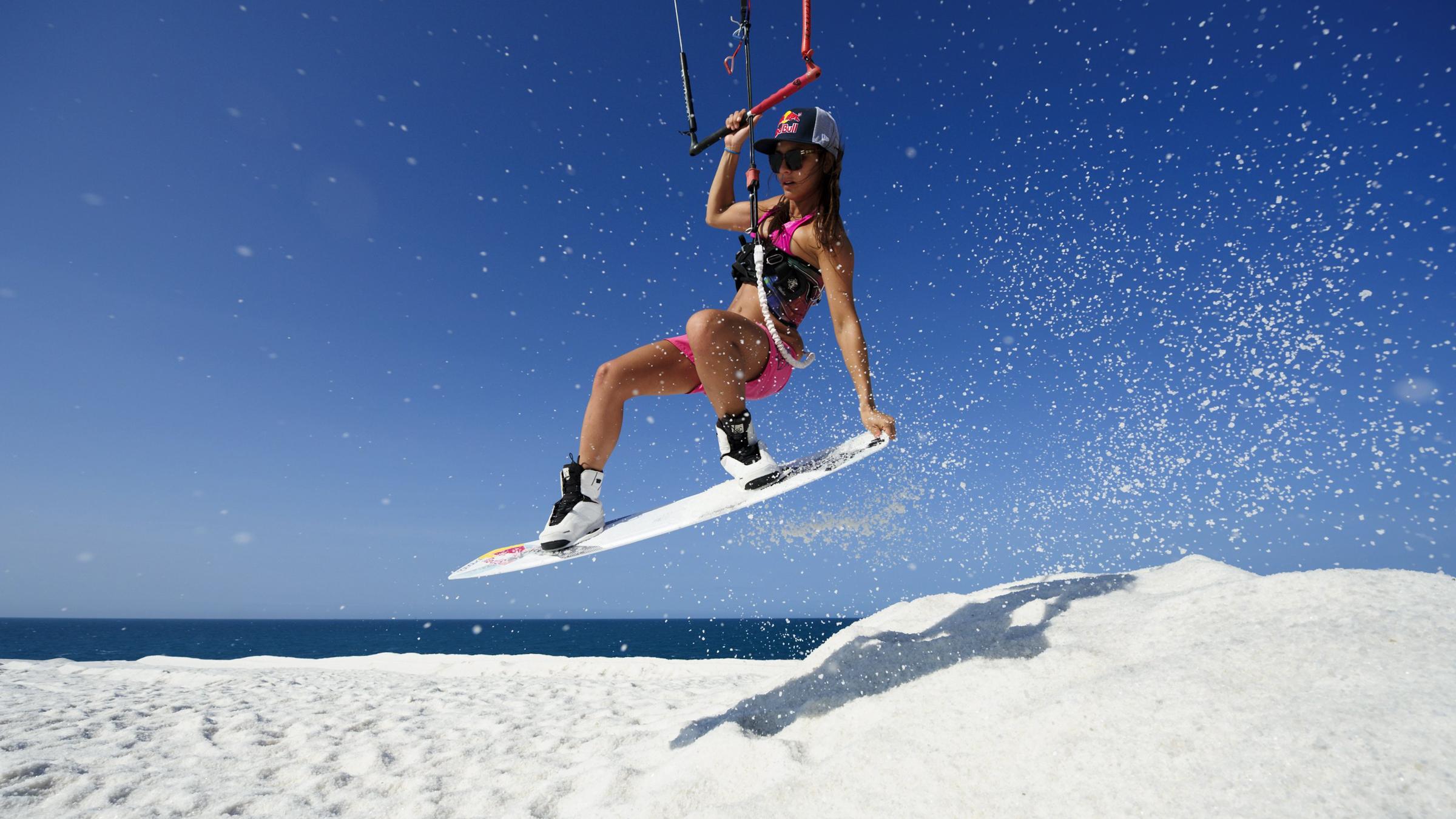 kitesurf wallpaper image - Bruna Kajiya jumping from salt mountain - in resolution: High Definition - HD 16:9 2400 X 1350