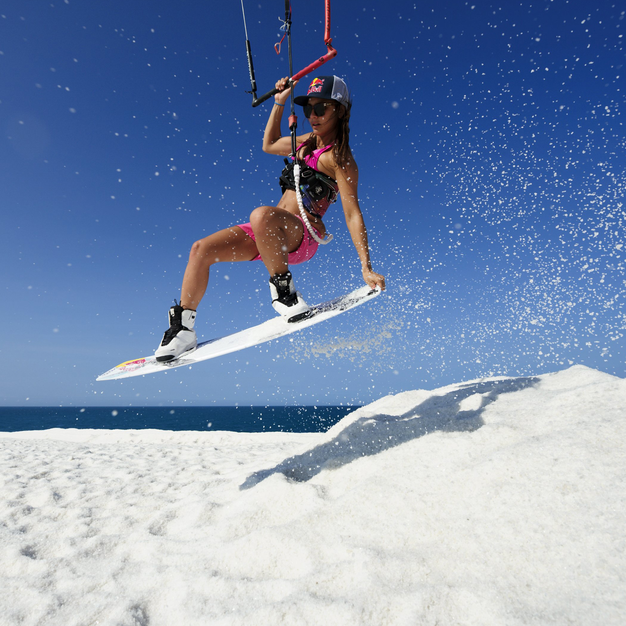 kitesurf wallpaper image - Bruna Kajiya jumping from salt mountain - in resolution: iPad 2 & 3 2048 X 2048