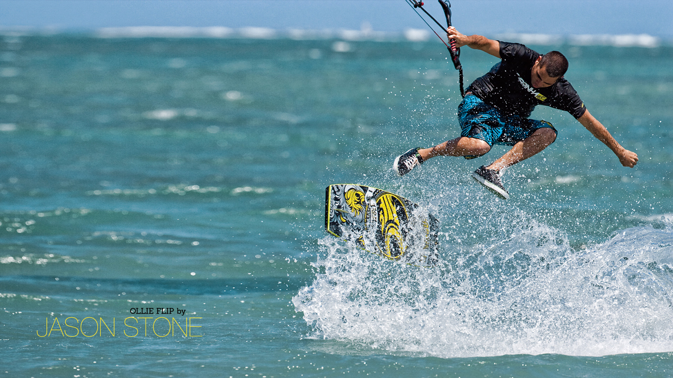 kitesurf wallpaper image - Jason on the wake skate - in resolution: High Definition - HD 16:9 1366 X 768