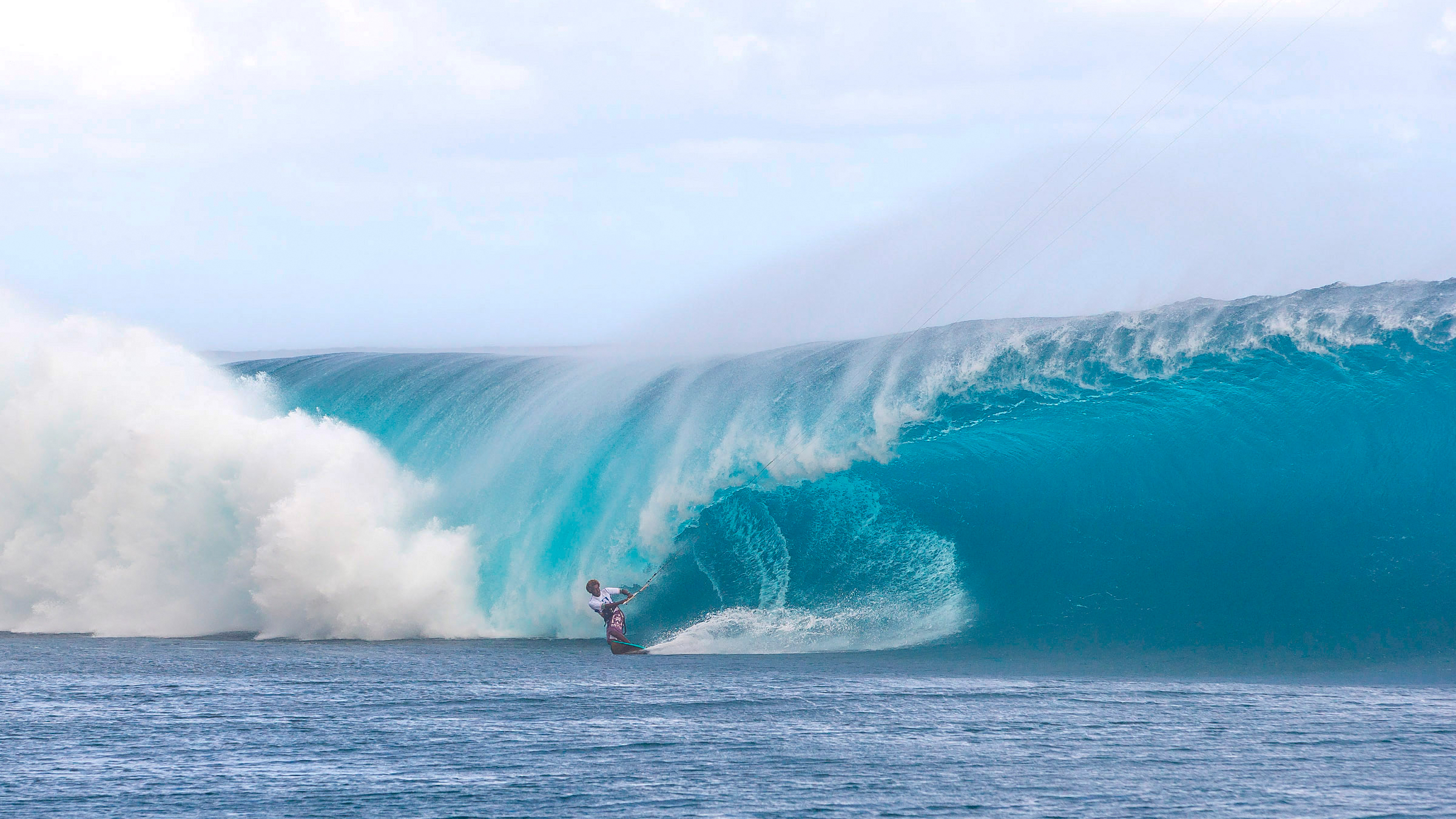 kitesurf wallpaper image - Mitu Monteiro taking on monster wave at Teahupoo - in resolution: High Definition - HD 16:9 2400 X 1350