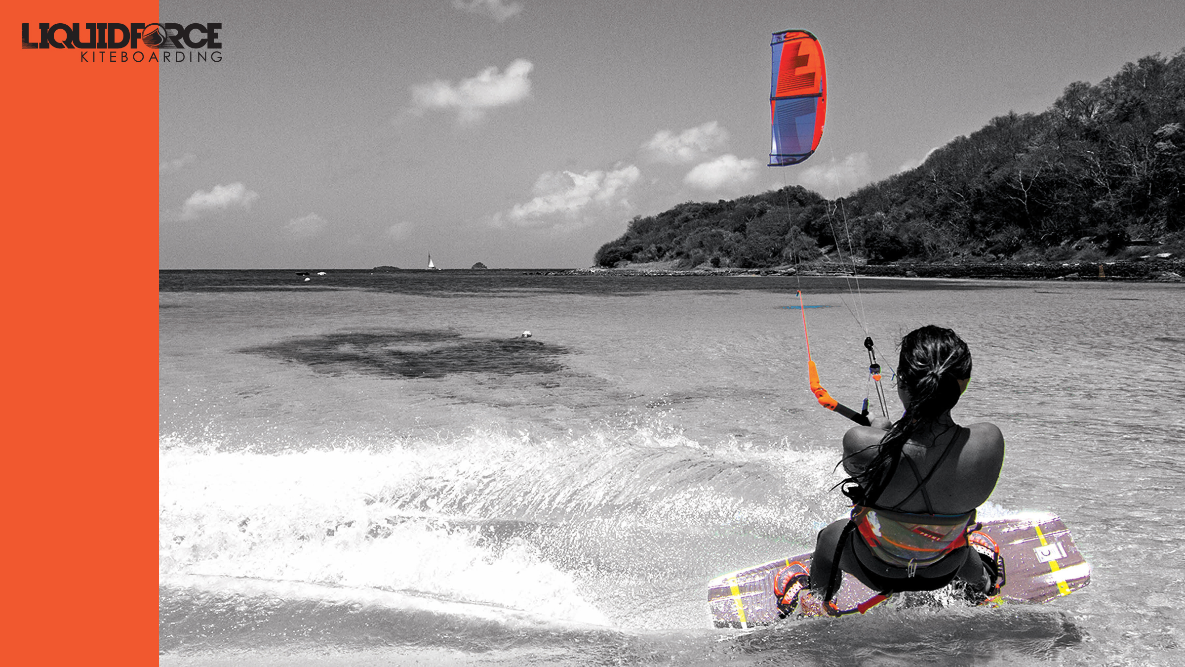 kitesurf wallpaper image - Sensi Graves with the 2015 Liquid Force Envy Kite and riding the carbon element kiteboard - in resolution: High Definition - HD 16:9 2400 X 1350