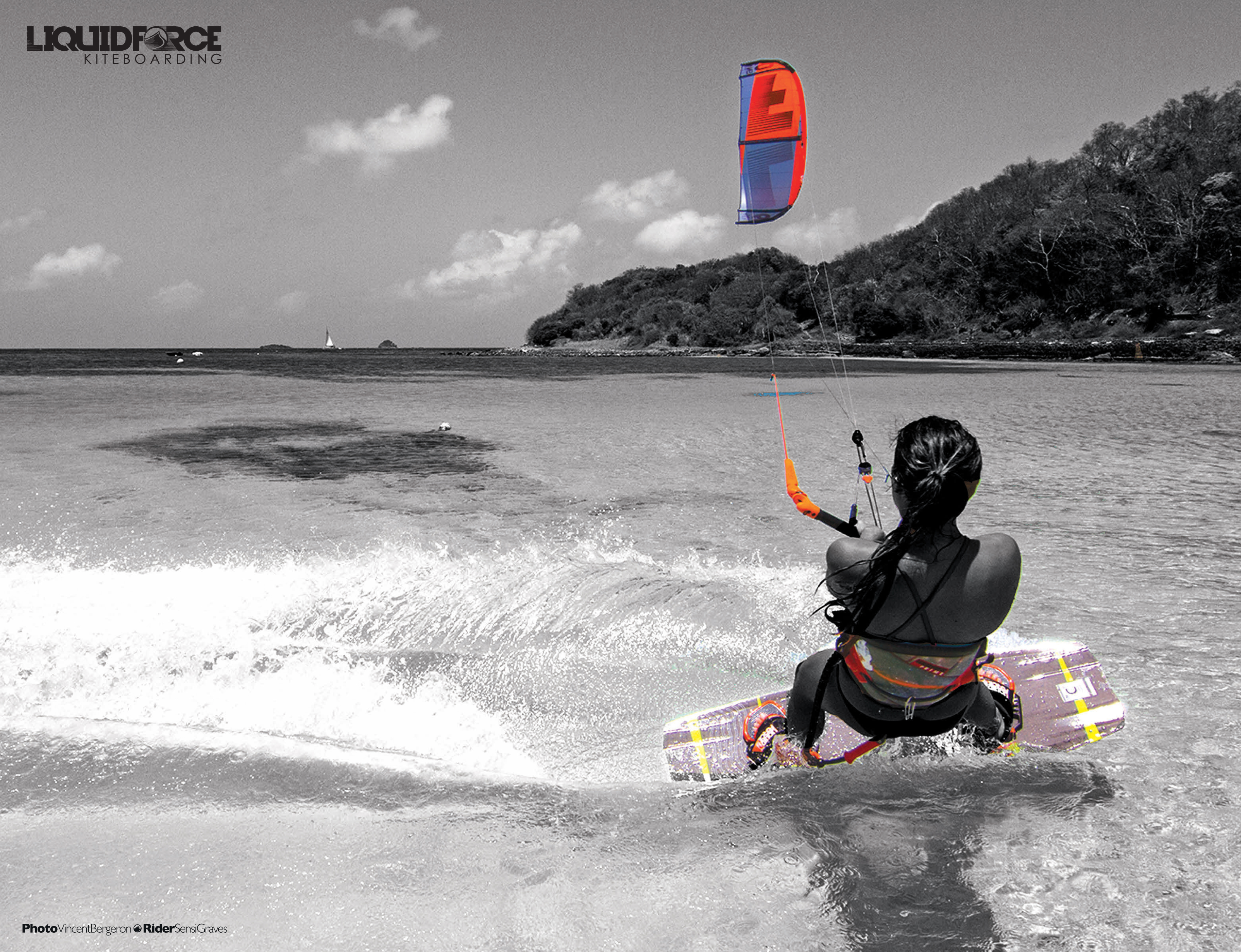 kitesurf wallpaper image - Sensi Graves with the 2015 Liquid Force Envy Kite and riding the carbon element kiteboard - in resolution: Original 3206 X 2460