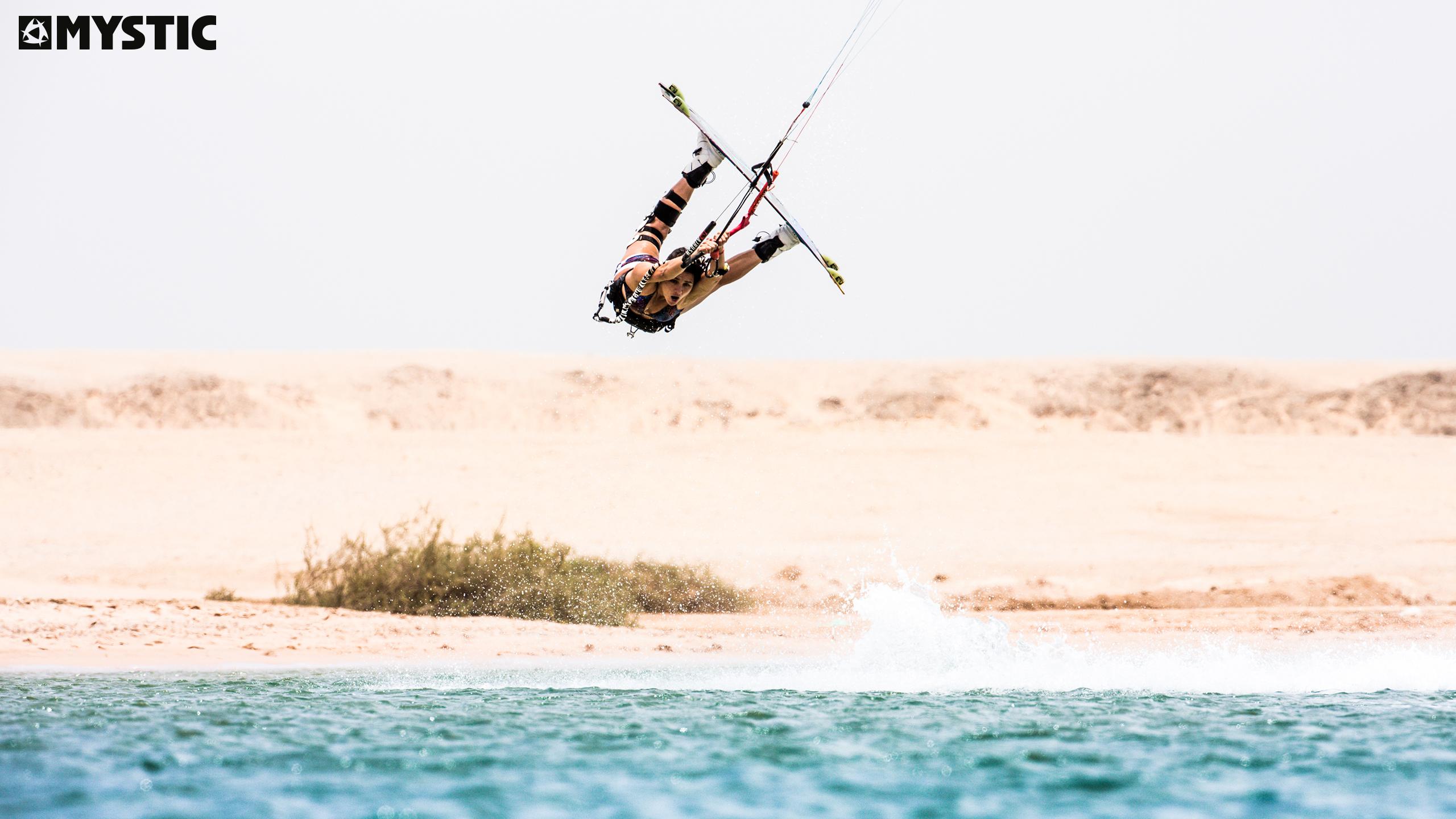 kitesurf wallpaper image - Bruna Kajiya with a raily - kitesurfing - in resolution: Original 2560 X 1440