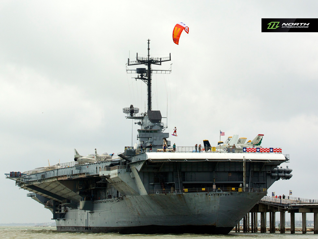 kitesurf wallpaper image - Jumping off an aircraft carrier with a North Vegas kite - in resolution: iPad 1 1024 X 768