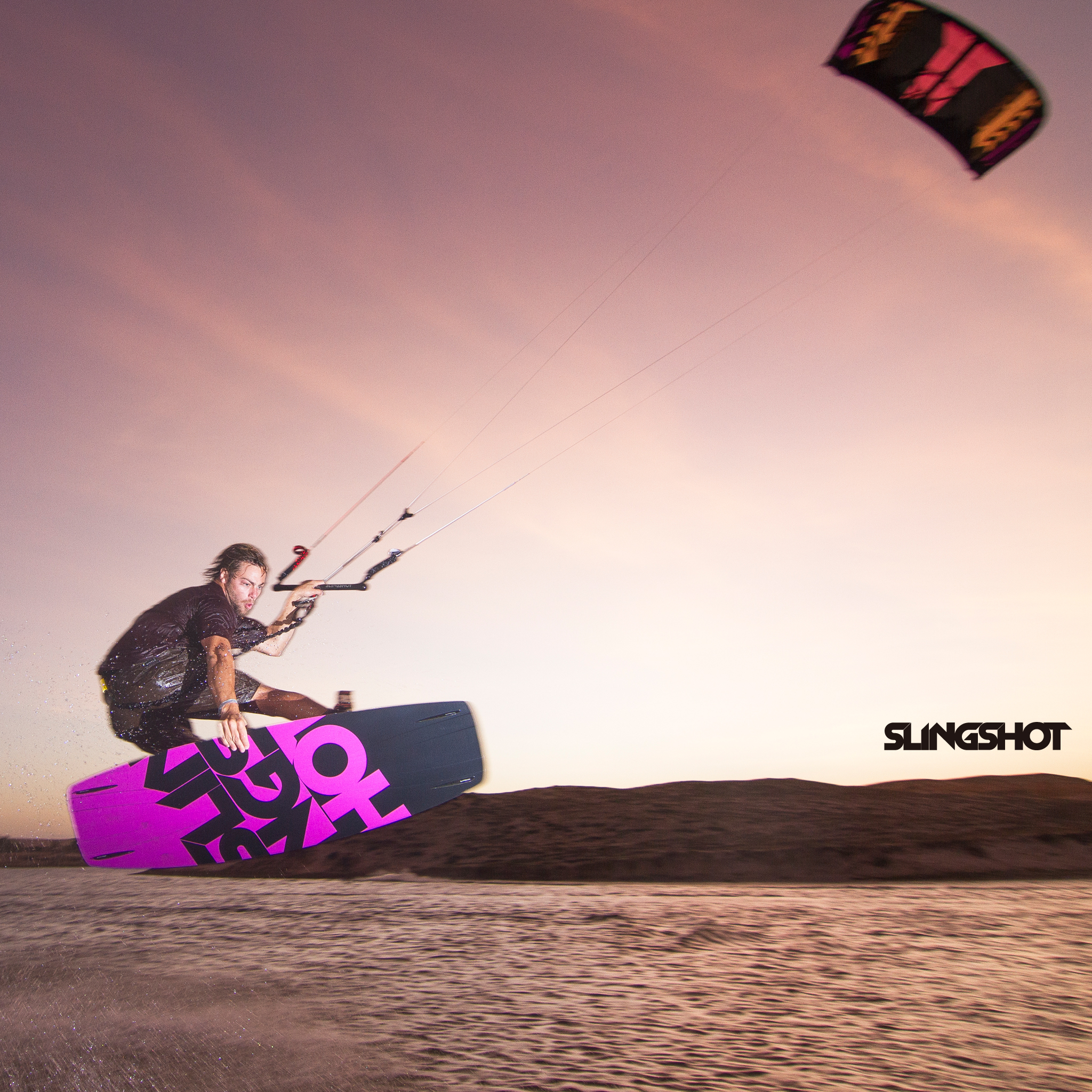 kitesurf wallpaper image - Grabbing some rail on the 2015 Slingshot Asylum board and flying the RPM kite. - in resolution: iPad 2 & 3 2048 X 2048