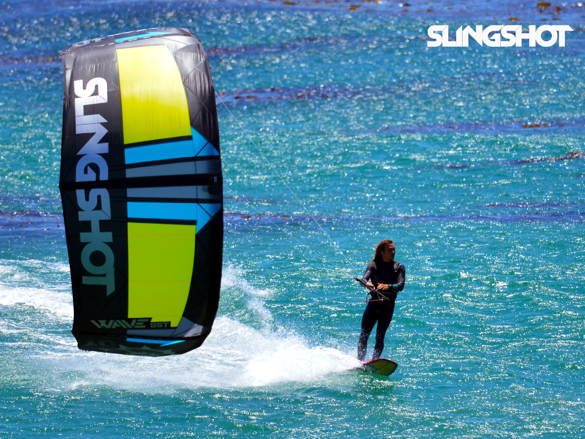 kitesurf wallpaper image - Kitesurfer Patrick Rebstock cruising on the 2016 Slingshot SST Wave kite.  - in resolution: Standard 4:3 1920 X 1440
