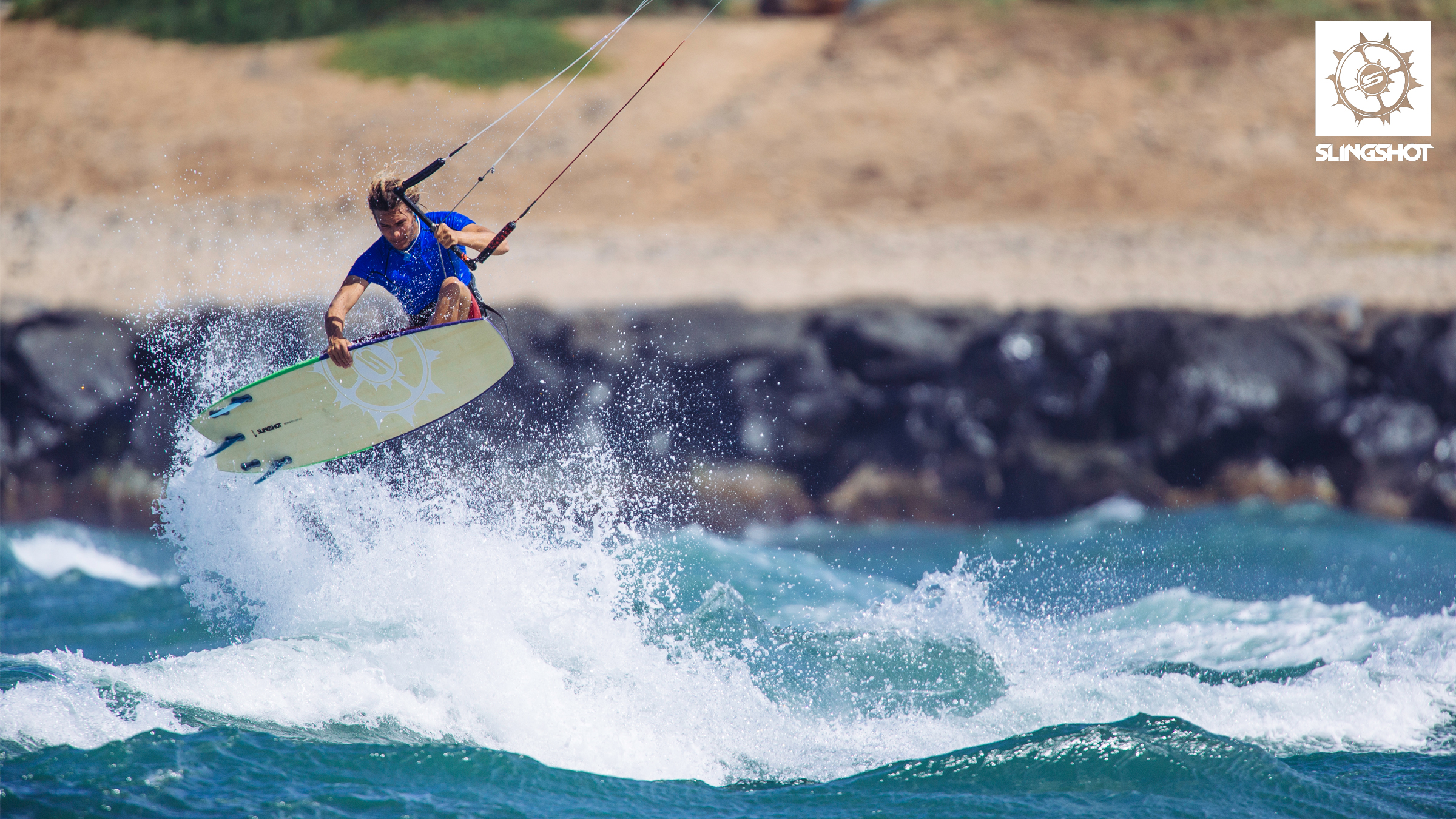 kitesurf wallpaper image - Patrick Rebstock on the 2015 Slingshot Angry Swallow kiteboard - in resolution: High Definition - HD 16:9 2400 X 1350