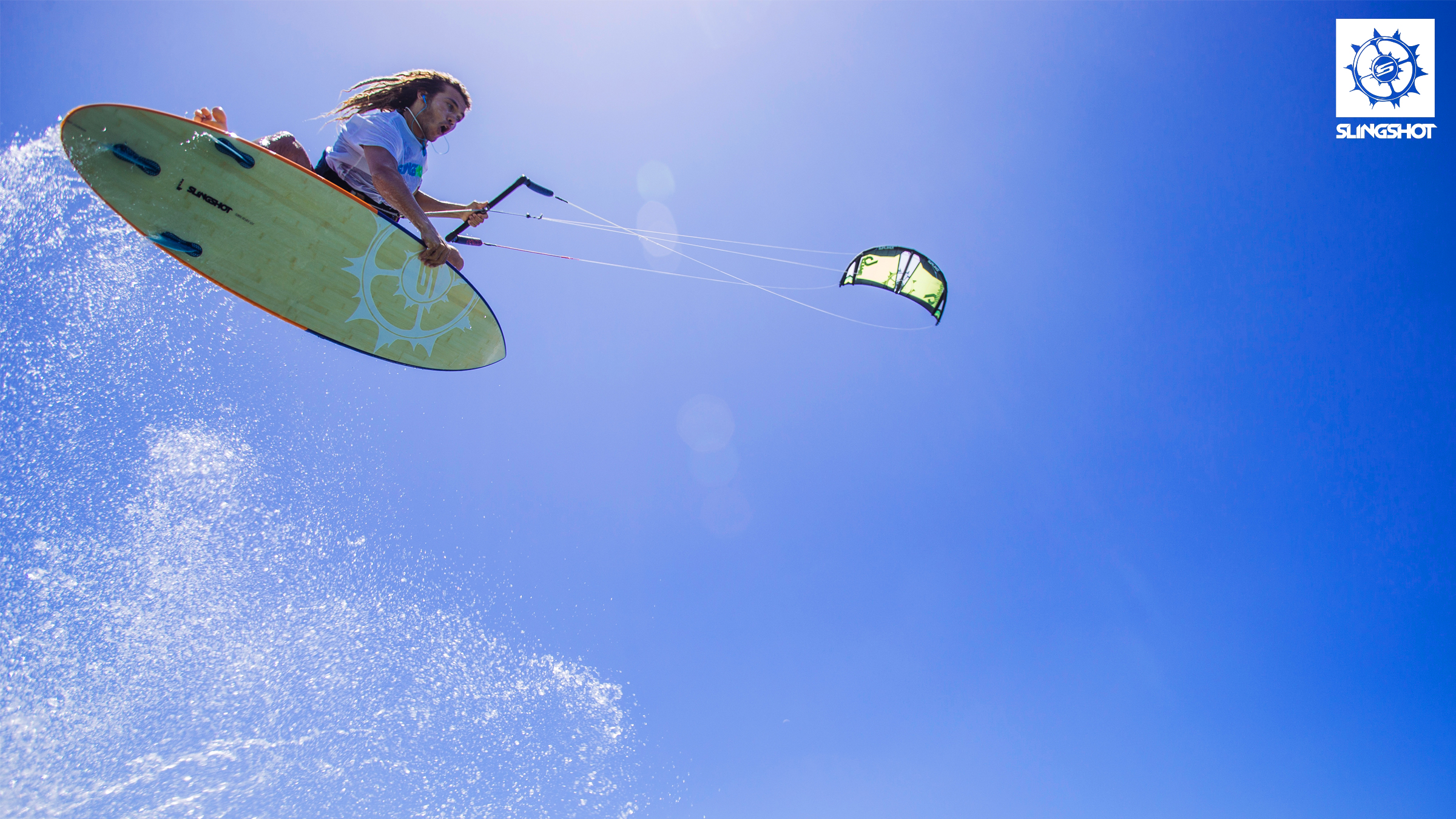 kitesurf wallpaper image - Patrick Rebstock on the new 2015 Slingshot Rally kite and Celeritas board - in resolution: High Definition - HD 16:9 2400 X 1350
