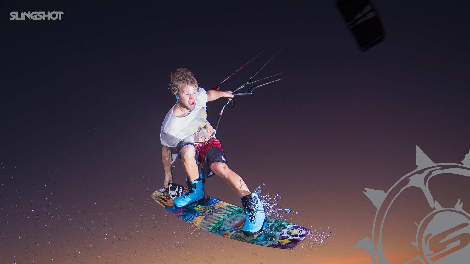 kitesurf wallpaper image - Sam Light feeling his way around in the dark on the 2015 Slingshot Vision board and Fuel - in resolution: High Definition - HD 16:9 1920 X 1080