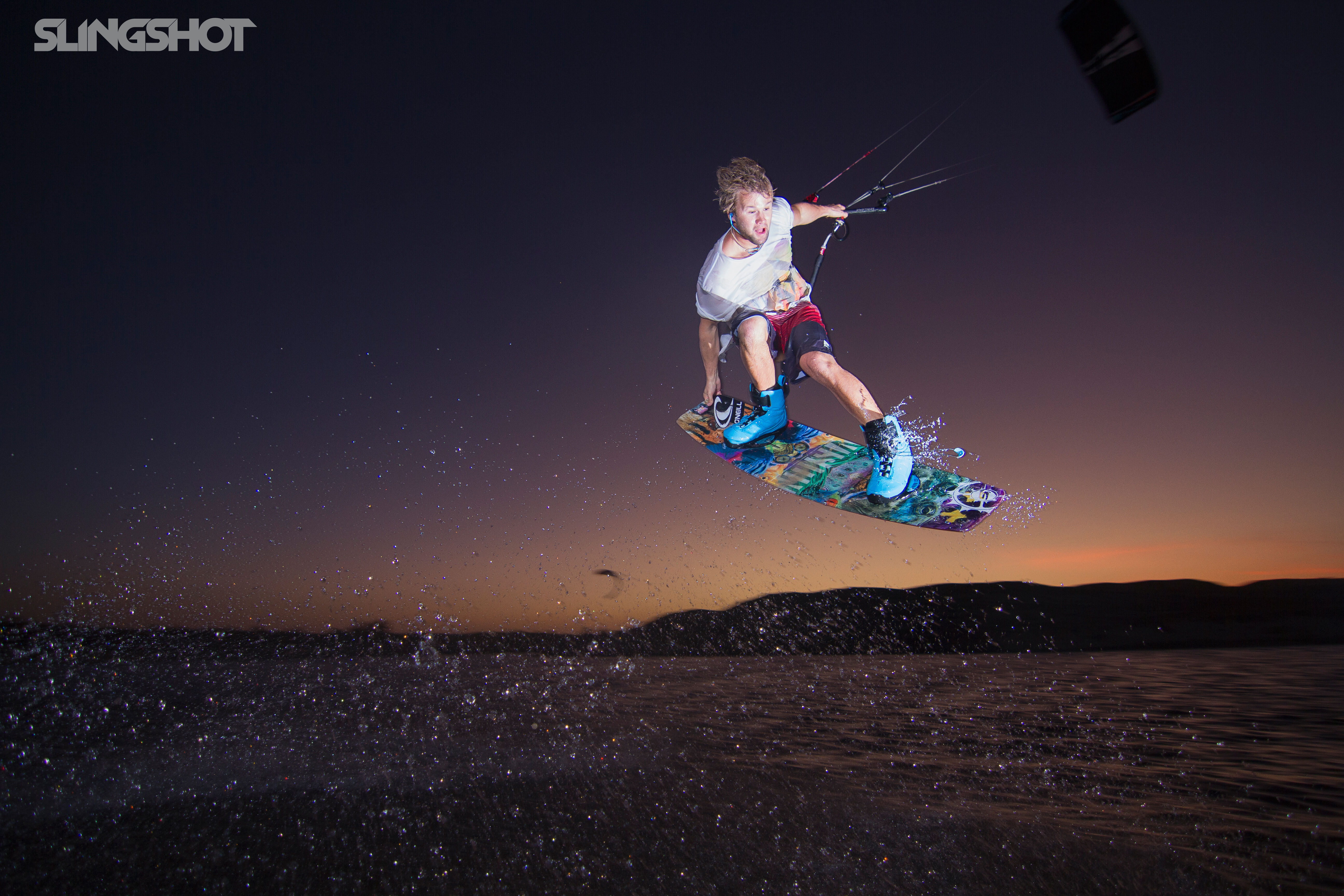 kitesurf wallpaper image - Sam Light feeling his way around in the dark on the 2015 Slingshot Vision board and Fuel - in resolution: Original 5184 X 3456