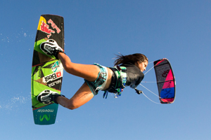 Gisela Pulido raily on the 2015 Best Kiteboarding GP kite with 2015 Armada board