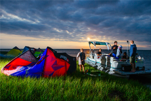 The Best kiteboarding crew chilling out at Cape Hatteras after a day on the water