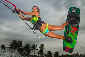 Kitesurfer Paula Rosales with a railey jump in bikini