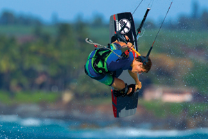 Liam Whaley on the 2015 Cabrinha Ace twintip with a nice board grab.