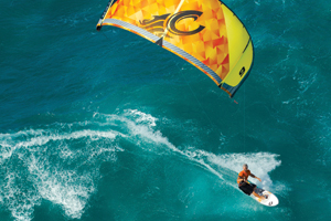 Pete Cabrinha on the 2015 drifter kite in Hawaii.