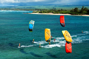 The 2015 Cabrinha Kites teamriders kitesurfing off the coast of Hawaii.