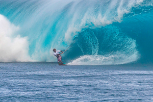 Mitu Monteiro taking on monster wave at Teahupoo