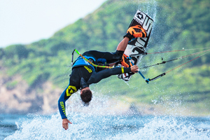 Kiteboarder Marc Jacobs showing off an incredible low mobe